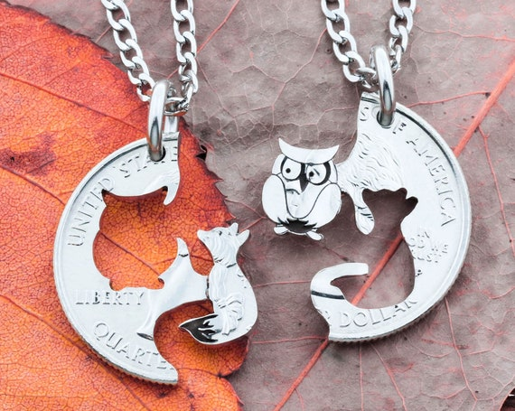 Owl and Fox Couples or Friends Necklaces, Best Friends Gifts, Interlocking Animal Jewelry, Hand Cut and Engraved Coin