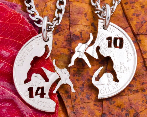 Hockey Necklaces with Custom Jersey Numbers, Hockey Players, Best Friend Necklaces, Goalie Necklace, Ice Hockey Jewelry, Hand Cut Coin