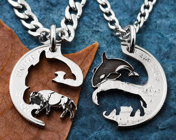 Orca Whale and Buffalo BFF Necklaces, Interlocking Set, Animal Jewelry, Hand Cut and Engraved Coin