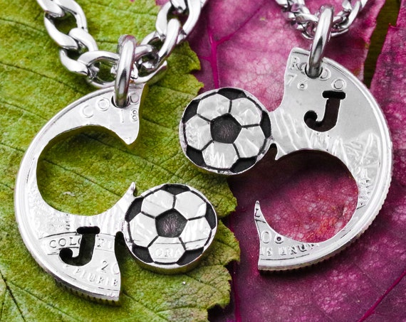 Interlocking SoccerBall Necklaces with Custom Initials, Soccer Best Friends, Boyfriend and Girlfriend Jewelry, Hand Cut Coin