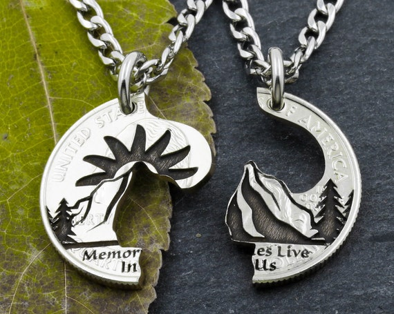 Mountain Memoirs, Split Couples Necklaces, Engraved Wording with Mountain, Sun and Trees, BFF or Couples Gifts, Hand Cut and Engraved Coin