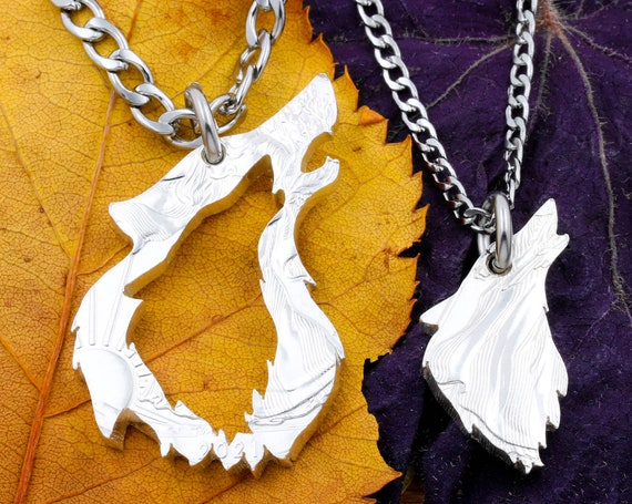 His and Her Howling Wolf Necklaces, Inside Outside Wolves, Couples Relationship Jewelry, BFF Gift, Half Dollar, Hand Cut Coin