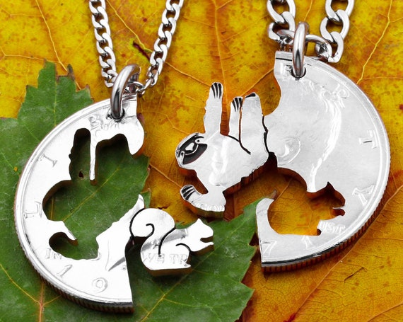 Sloth and Squirrel Best Friends Necklaces, Couples Animal Jewelry, Engraved Hanging Tree Sloth, Procrastinate, Attention Loss, Hand Cut Coin