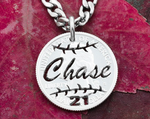 Baseball or Softball Necklace with Your Custom Name and Number, Sports Jewelry, Hand Cut Coin