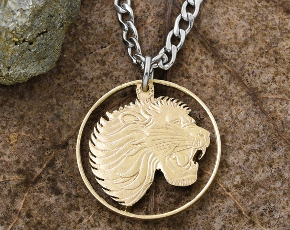 Ethiopian Lions Head Necklace, 50 Santeem, Copper Nickel, Ethiopia, Limited Quantity Available, Hand Cut Coin