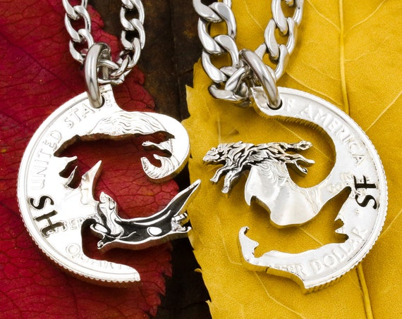 Wolf and Otter Best Friends Jewelry, Custom Engraved Initials, BFF Interlocking Necklaces, Animal Jewelry, Made From a Hand Cut Coin