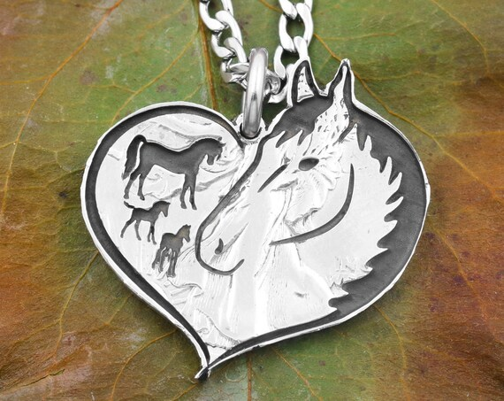 Interpretive Heart-Shaped Horse Necklace, Tiny Engraved Horses Inside Big Horse, Hand Cut and Engraved Coin