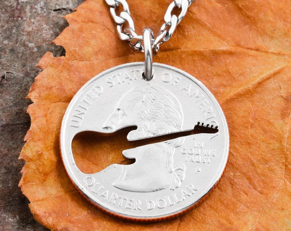Electric Guitar Necklace, Musical Jewelry, Hand Cut Coin
