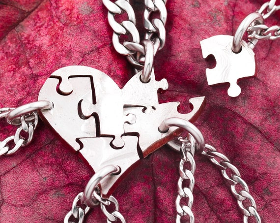 Pieces of My Heart Necklace, Broken Puzzle, 5 Piece Friends and Family Jewelry, Hand Cut Coin