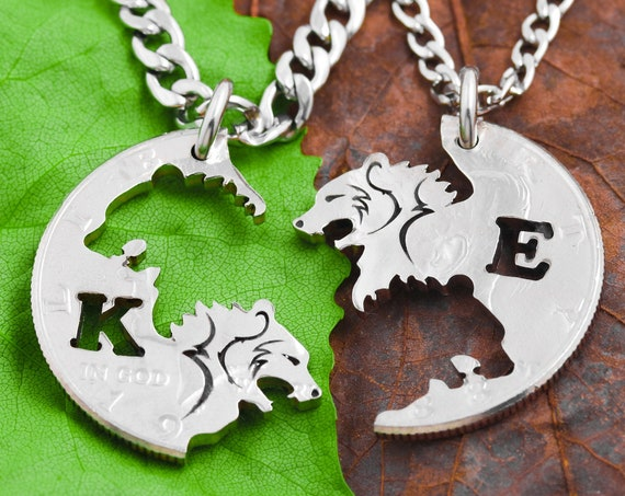 Engraved Bear Necklaces with Custom Initials, Couples Necklaces and Best Friend Gifts, Interlocking Animal Jewelry, Hand Cut Coin