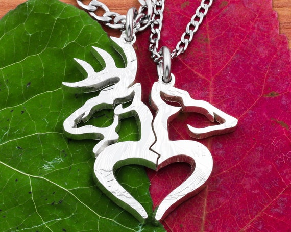 Buck and Doe Broken Heart Necklaces, Western Country Love, Split Deers, Couples Jewelry, Hand Cut Coin