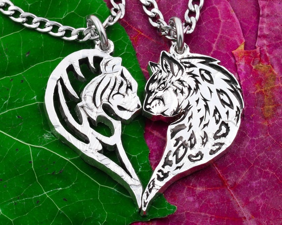 Tiger and Leopard Couples Necklaces Animals Making a Heart, Relationship Gift, Couples Jewelry, Hand Cut Coin