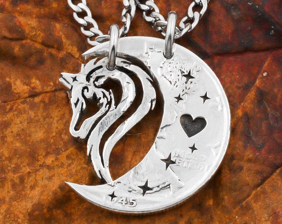 Tribal Wolf and Moon Necklaces, Little Engraved Heart and Stars, Couples Hand Cut Coin Jewelry