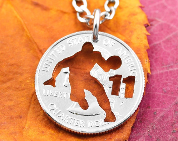 Basketball Necklace, Sports Gifts for Boys, Player Silhouette, Hand Cut Coin