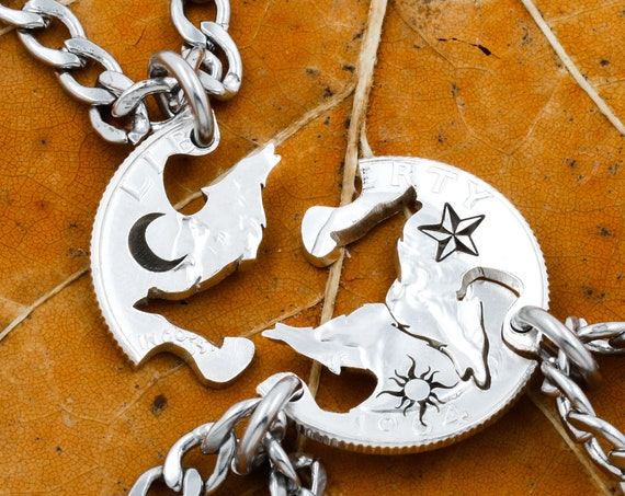 3 Howling Wolves Astronomy Necklaces, Moon, Sun and Star, Family Jewelry, Interlocking Hand Cut Coin