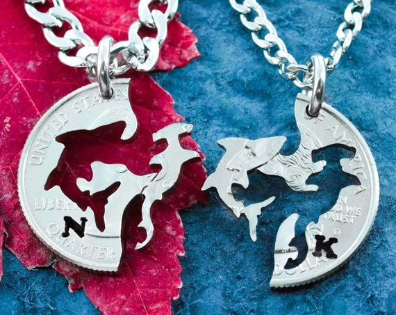 Hammerhead and Great White Shark Necklace, Custom Initials, Couples or Best Friends Gifts, Ocean Animal Friends Interlocking Hand Cut Coin