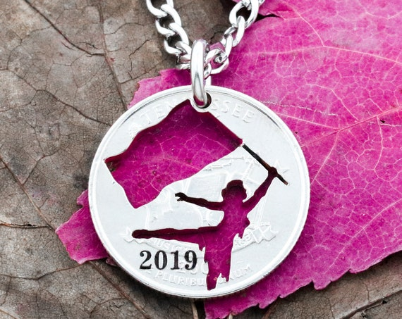 Color Guard Necklace with Custom Date, Colorguard Gift, Hand Cut and Engraved Coin