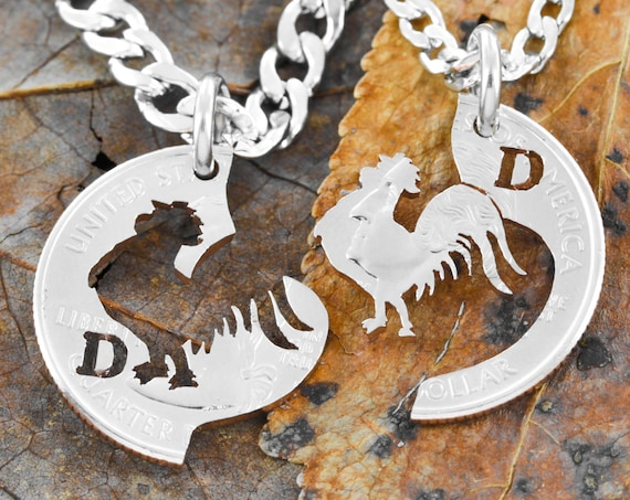 Rooster Necklaces, Custom Cut Initials, Best Friends or Couples Gifts, Interlocking Bird, Hand Cut Coin