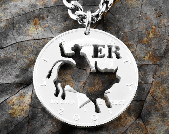 Bull Rider Necklace with Custom Initials, CowBoy Jewelry, Half Dollar, Hand Cut Coin