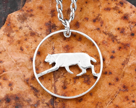25 Cent Canadian Bobcat Necklace, Silver Composition, Limited Quantity Available, Hand Cut Coin