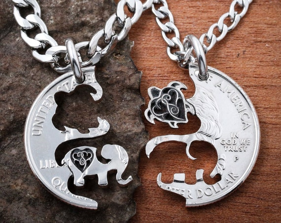 Sea Turtle and Elephant, Best Friends Necklaces, Hearts Engraved, BFF Gifts for 2, Relationship Puzzle Set, Hand Cut Coin