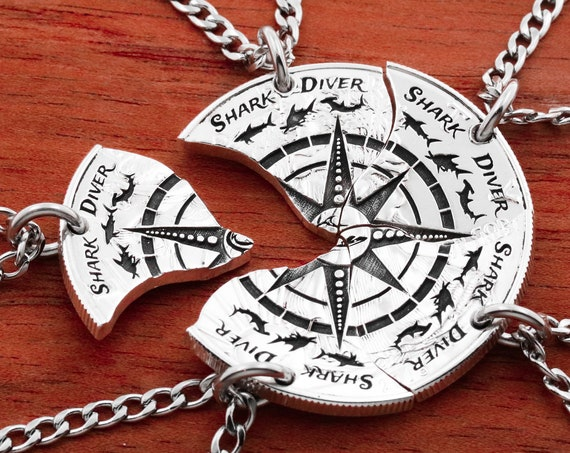 5 BFF Shark Diver Necklaces, Five Brave Friends, Engraved Lettering, Extreme Sports, Compass Jewelry, Hand Cut Coin