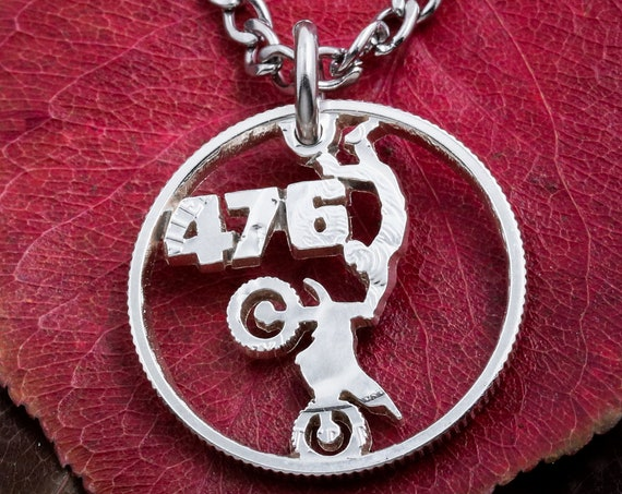 Dirt Bike with Personalized Jersey Number Necklace, Motocross Jewelry, Custom Dirtbike Gift, Boyfriend Present, Hand Cut US Coin