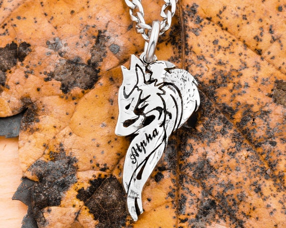 Lone Wolf Necklace with Custom Engraved Name, Alpha Wolf Head Pendant, Tribal Hand Cut Jewelry, US Half Dollar