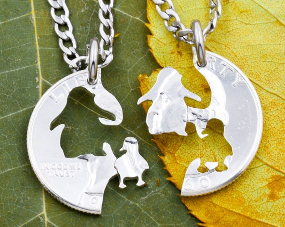 Penguin and Baby Chick Penguin Necklaces, Mama or Papa and Baby, Interlocking Family Jewelry, Hand Cut Coin