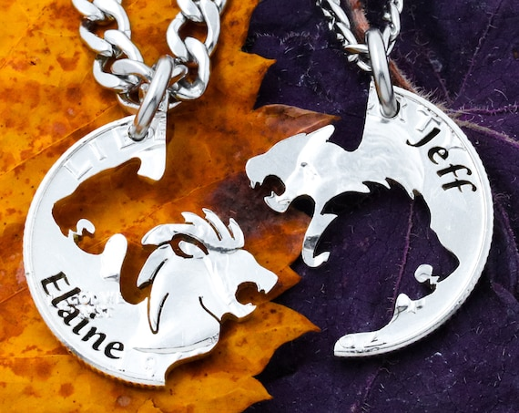 Lion and Lioness Necklaces with Custom Names, Interlocking Couples Jewelry, Hand Cut Coin