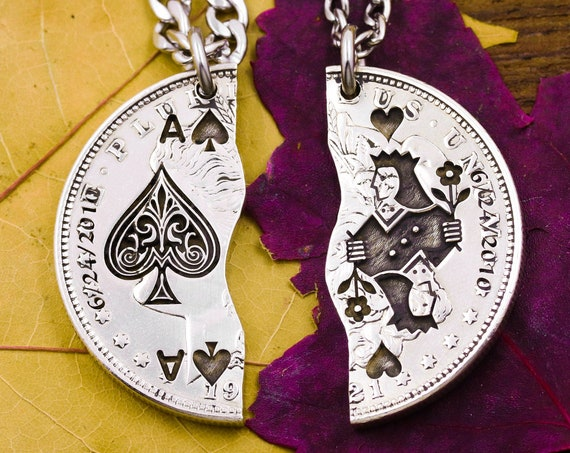 Customized Dates on Ace of Spades and Queen of Hearts Necklaces For Best Friends, Playing Cards, BFF Jewelry, Couples Gifts, Hand Cut Coin