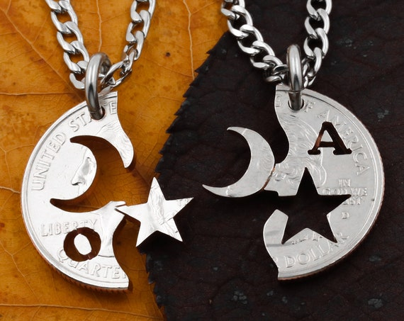 Moon Star BFF Necklaces with Custom Initials, Astronomical Long Distance, Couples Jewelry Necklaces, Hand Cut Coin