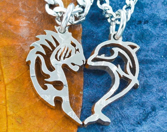Tiger and Dolphin Couples Necklaces, Love Animal Jewelry, Interlocking Hand Cut Coin