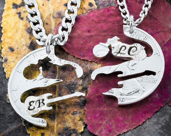 Motorcyclist and Guitarist Couples Necklaces, Custom Engraved Initials, Interlocking Sports & Musician Jewelry Relationship, Hand Cut Coin