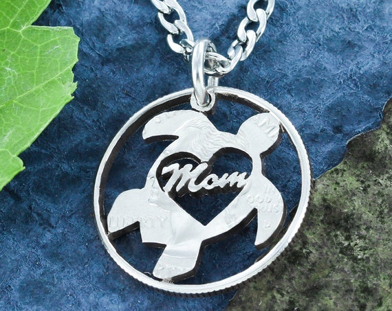 Mom Turtle Necklace, For Mothers, Family Animal Jewelry, Hand Cut Coin