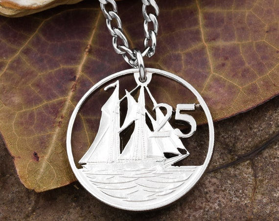 Cayman Islands Sailboat Necklace, 25 Cents, Copper Nickel, Queen Elizabeth, Limited Quantity Available, Hand Cut Coin