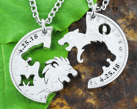 Lion and Lioness Necklaces With Custom Initials and Dates Jewelry Set, Interlocking Couples Jewelry, Hand Cut Coin