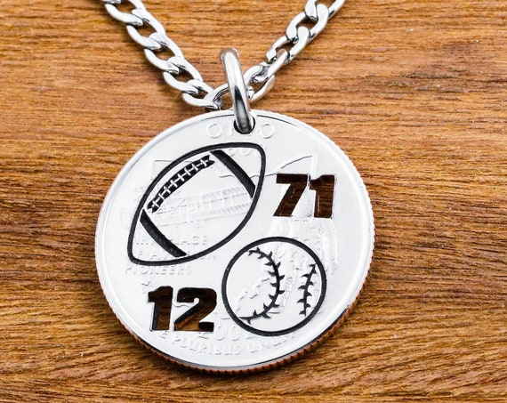 Football Necklace, Baseball Key chain, Jersey number, Sports Gift For Boys, Athlete coin gift