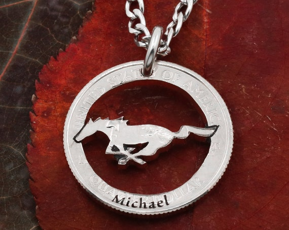 Mustang Running Horse Necklace with Custom Name, Equestrian, Western, Horse Lovers Pendant, Hand Cut Coin