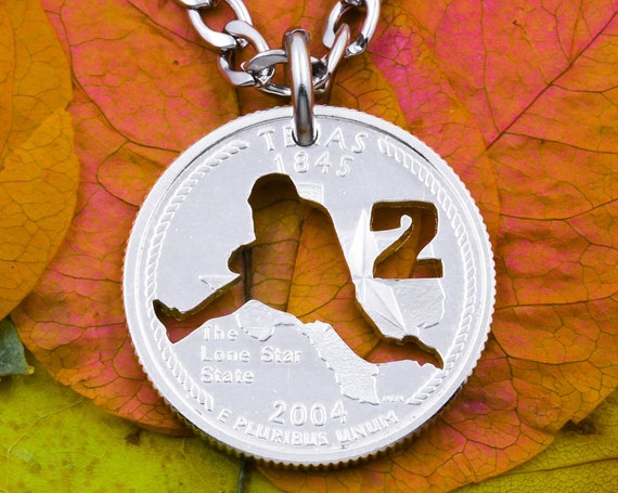 Football Player Runner or Quarterback Silhouette Necklace, Custom Cut Jersey Number, Cut on Quarter's State Side, Hand Cut Coin