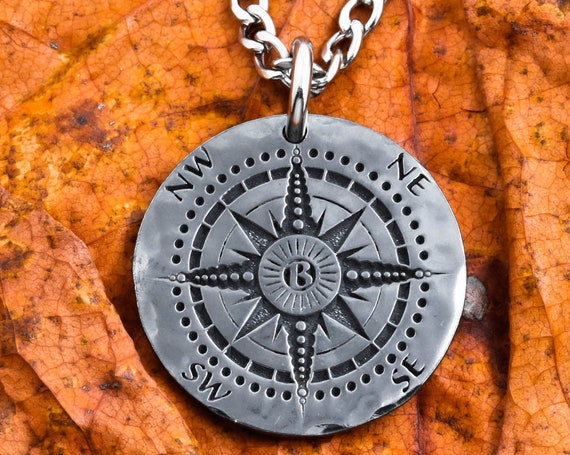 Dark Silver Compass Necklace, Your Personal Initial Etched in the Middle, Jewelry for Guys, Gun Metal, Oxidized, Patina, Engraved Coin