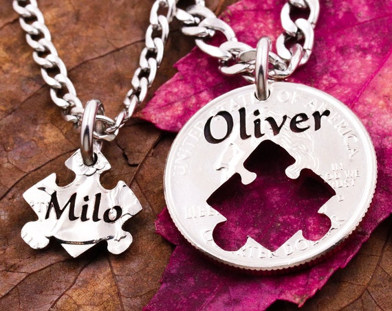 Personalized Puzzle Piece Name Necklaces, Interlocking Hand Cut Coin