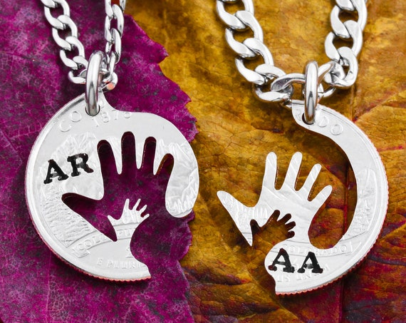Child in Parents Hands Interlocking Necklaces, Family Jewelry Set, Interlocking Relationship, Hand Cut Coin