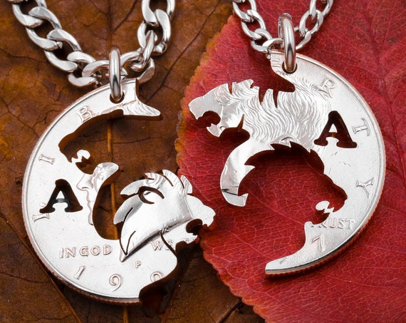 Tiger and Lion Necklace with Custom Initials, Interlocking Couples Necklaces, Animal Jewelry Set, Hand Cut Coin