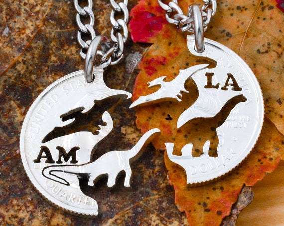 Pterodactyl and Brontosaurus Best Friends Necklaces, BFF Split Set, Kids Dinosaur Jewelry, Hand Cut Coin