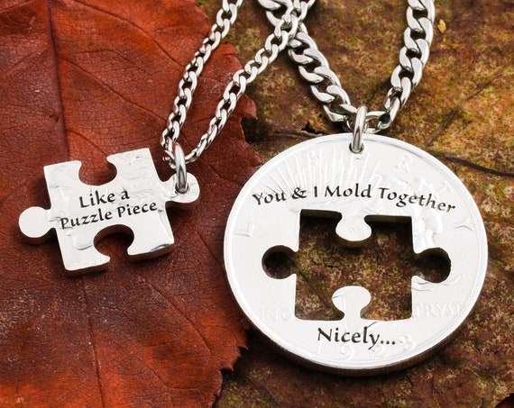 Puzzle Piece Couples Necklaces, Little Phrases, You & I Mold Together Nicely, Hand Cut Coin