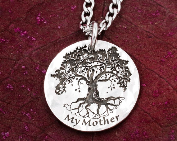 Silver Oak Tree Necklace, Engraved Custom Name, Tree Jewelry, Family Tree, Hammered and Engraved Silver Coin