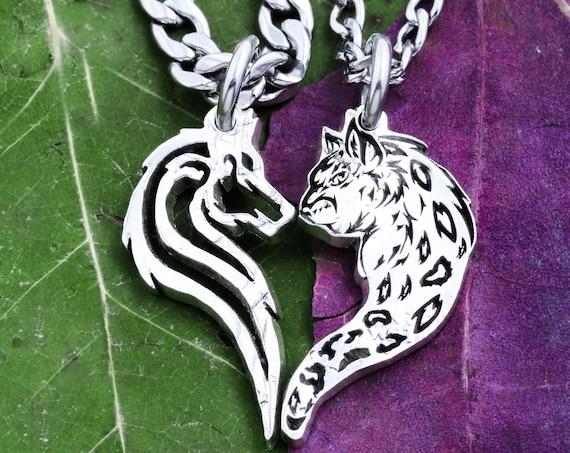 Leopard and Wolf Couples Necklaces, Spots and Fur, Animal Heart Jewelry, Relationship Gift, Hand Cut Coin