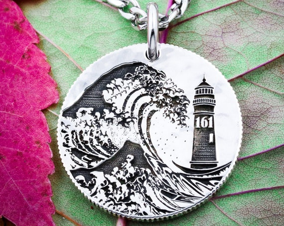 Custom Silver Lighthouse Necklace, Great Wave Off Kanagawa, Personalized Number or Initials, Engraved Coin