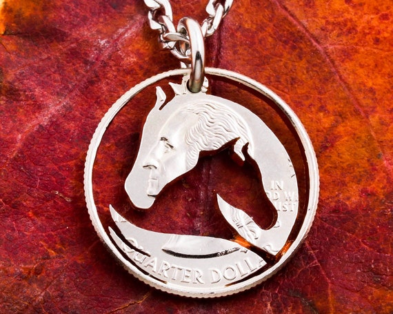 Horse Silhouette Necklace, Little Pony Shadow In Bigger Horse, Love Horses, Couples Gift, Equestrian Jewelry, Hand Cut Coin